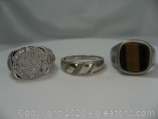 Lot of 3 Mens Rings