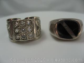 Lot of 2 Sterling Silver Mens Rings