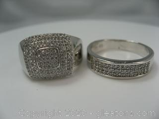 Set of 2 Sterling Silver & Cz Mens Rings