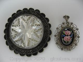 Sterling Silver Brooch & Pendant Lot