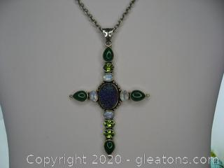 Sterling Silver Gemstone Cross