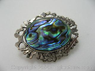 Abalone Silver Brooch