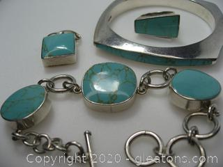 Sterling Silver Imitation Turquoise Set