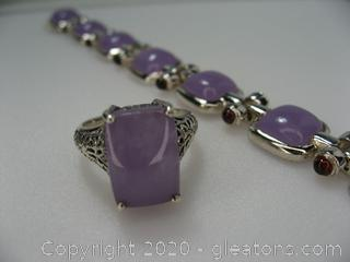 Sterling Silver Purple Jade Set