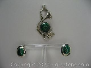 Malachite Sterling Silver Set