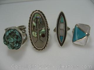 Lot of 4 Sterling Silver Rings W/Stones
