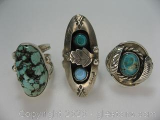 Lot of 3 Sterling Silver Turquoise Rings