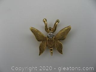14kt Yellow Gold Diamond Butterfly Pendant