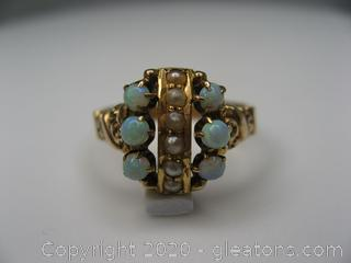 10kt Yellow Gold Opal and Pearl Ring