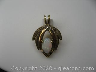 10kt Yellow Gold Opal and Diamond Pendant