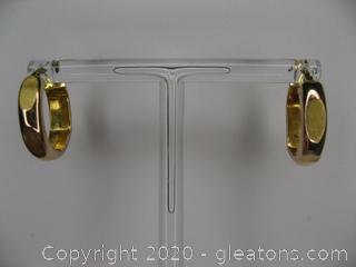 10kt Yellow Gold Faceted Hoop Earrings