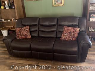 Dark Espresso Feux Leather Reclining Sofa