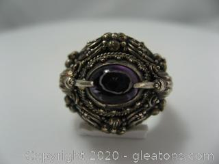 Intricately Made Amethyst and Sterling Ring
