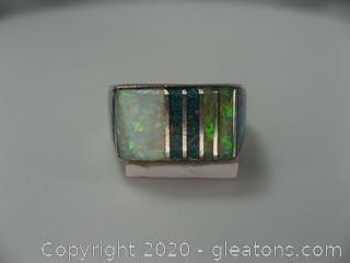 Sterling Opal Inlaid Ring