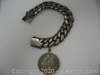 Heavy Sterling 1914 Peruvian Coin Bracelet