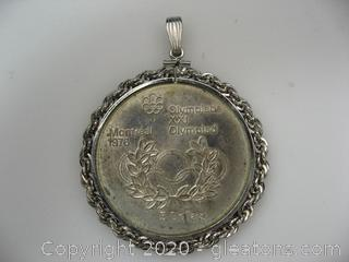 1976 Canada Silver $5 Olympic Coin Pendant