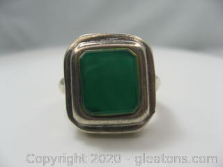Large Sterling Ring W/Green Onyx