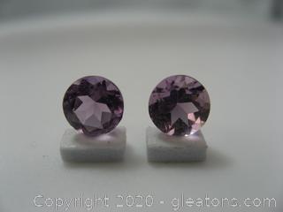 Pair Loose Round Amethyst Gemstones