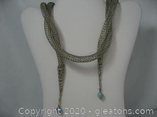 Woven Silver Tones Wrap Necklace