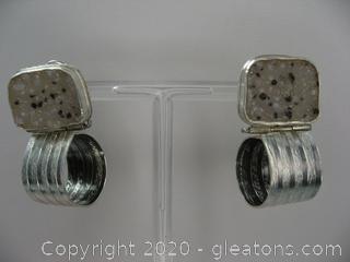 Sterling Silver Druzy Earrings