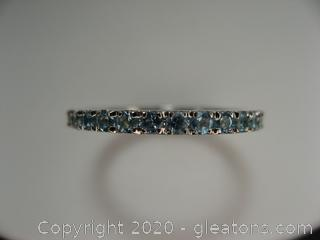 Blue Topaz Eternity Band in Sterling Silver