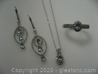 Aquamarine & White Topaz Set in Sterling Silver
