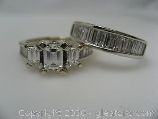 14Kt White Gold Diamond Wedding Rings