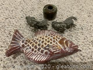 Brass Roosters and Pottery Fish Figurines