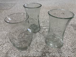 Trio of Wide neck Glass Vases