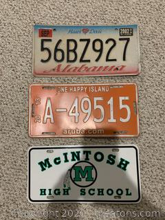 Lot of 7 License Plates - McIntosh High, Aruba, FL, GA, AL.