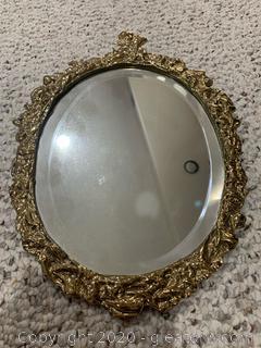 Italian Gold Guilded Beveled Hand Mirror