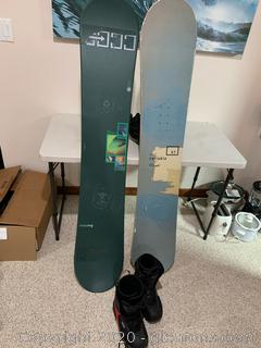 Lot of Snowboards and Snow Boots