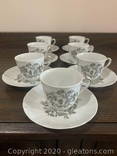 """""""Beauvais"""" Limoges Tea Cups and Saucers"""