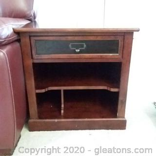 Mahogany End Table with Divided Storage Bottom