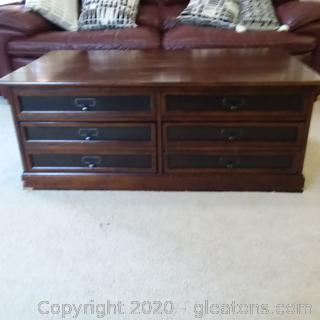 Mahogany Coffee Table – 2 Drawers Under Top Storage