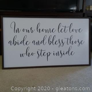 """Decorative Wall Art """"In Our House Let Love Abide and Bless Those Who Step Inside"""""""