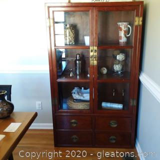 Asian Curio/Display Cabinet 2 Glass Doors Over 4 Drawers
