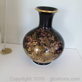 Shibata Japan Black Vase with Flowers and Dragonflies