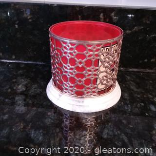 Silver Filagree Candle Holder with Marble Base