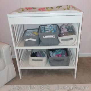 White Changing Table From Ikea-Includes Baskets and Changing Pad Only