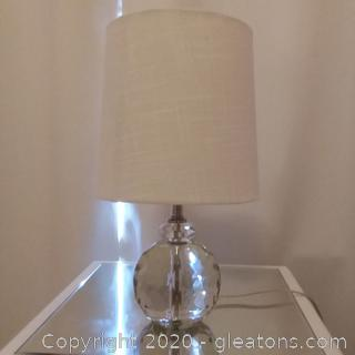 Small Heavy Crystal Lamp with Fabric Shade
