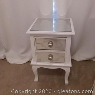 Mirrored 2 Drawer Side Table
