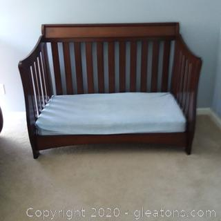Convertible Baby Bed Converts to Toddler Then To Twin Includes Mattress