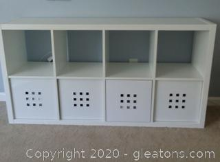 8 Section Storage Unit with 4 Pull Out Plastic Tubs