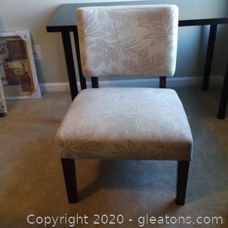 Beige With Grey Floral Accent Chair