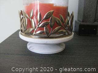 Candle Holder with Marble Base and Gold Metal Rim