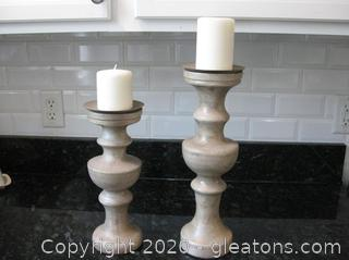 Pair of Distressed Wooden Candlesticks