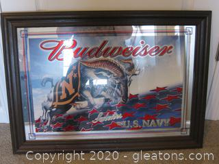 US Navy Budweiser Mirrored Sign in Wooden Frame