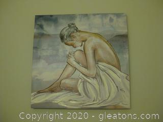 Square Canvas Wall Decor of Woman With Sheet