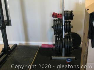 500lb, Rubber Grip Olympic Set (Barbells) With Other Components See Description